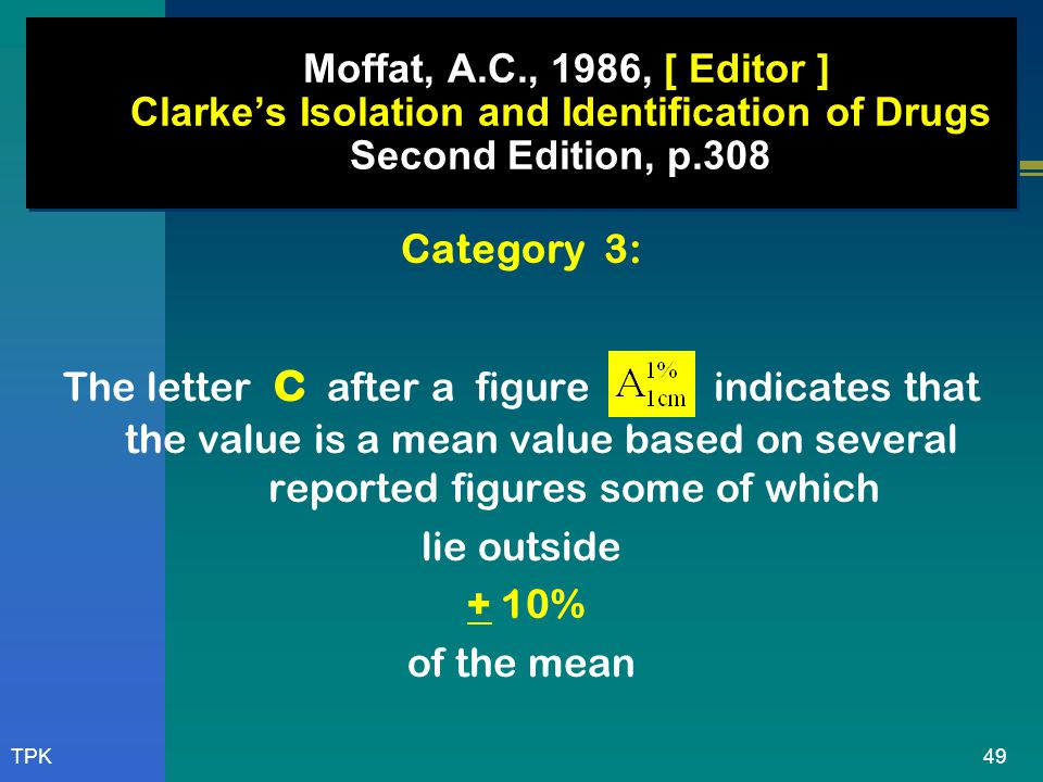 Moffat, A.C., 1986, [ Editor ] Clarke's Isolation and Identification of Drugs Second Edition, p.308